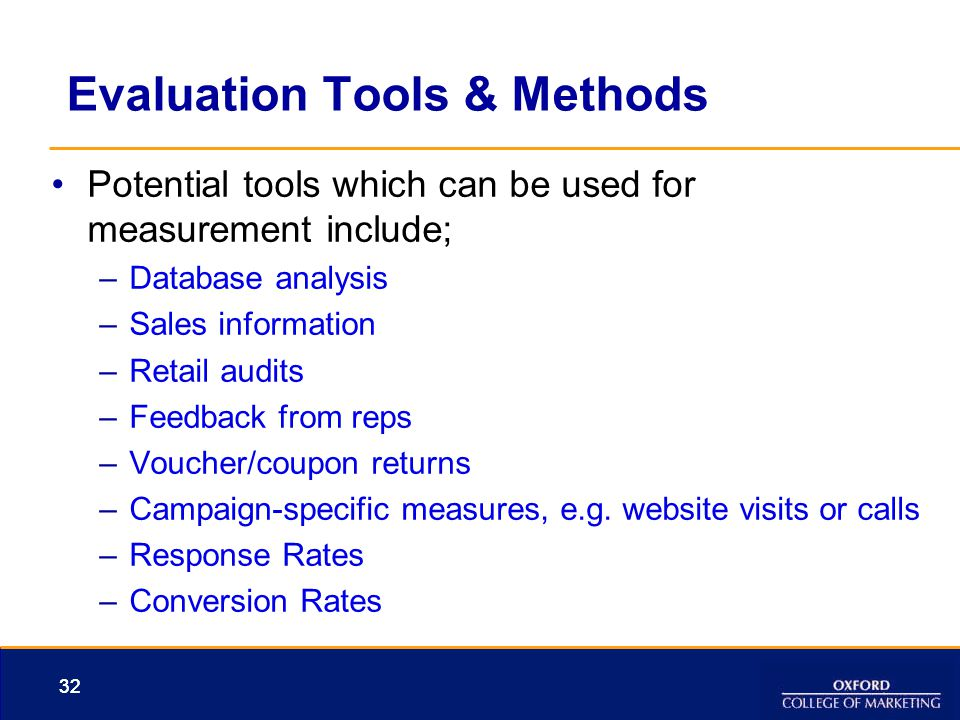 Evaluation Tools & Methods