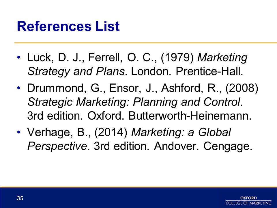 References List Luck, D. J., Ferrell, O. C., (1979) Marketing Strategy and Plans. London. Prentice-Hall.