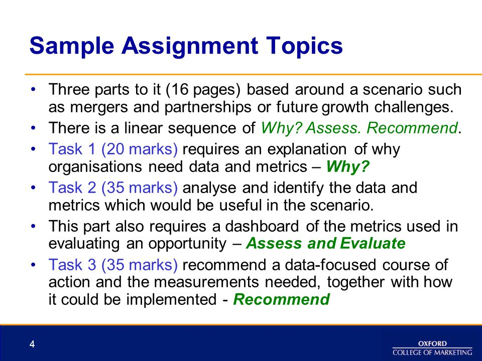 Sample Assignment Topics