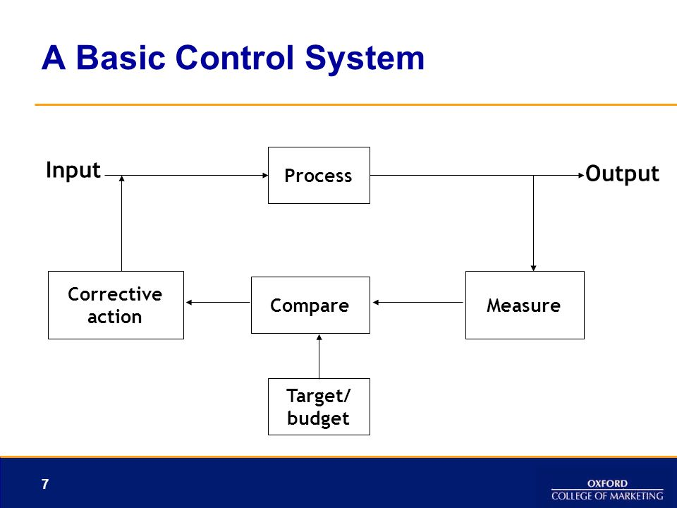 A Basic Control System Input Output Process Corrective Measure Compare