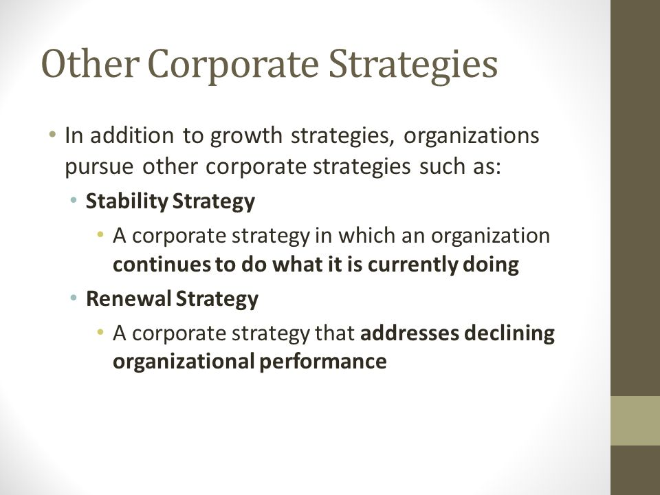 Other Corporate Strategies
