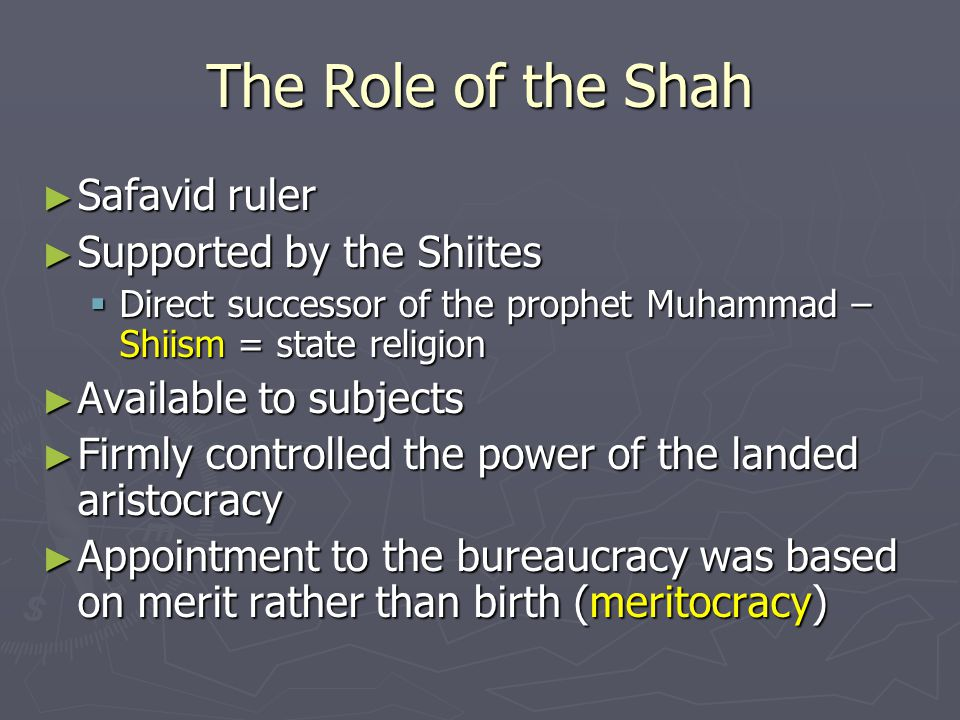 The Role of the Shah Safavid ruler Supported by the Shiites