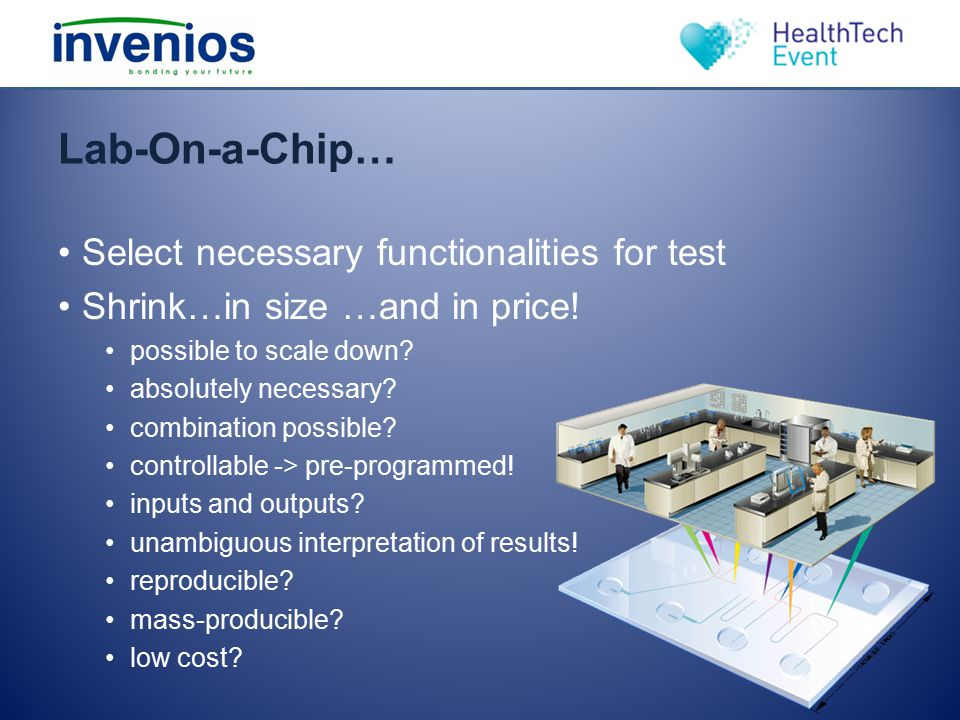Lab-On-a-Chip… Select necessary functionalities for test