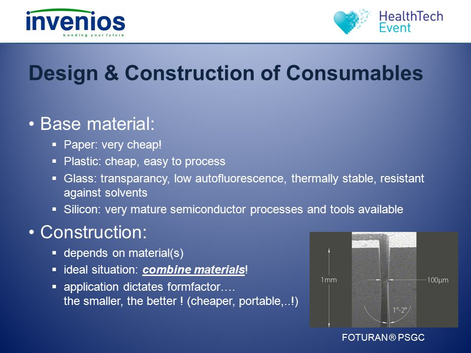 Design & Construction of Consumables