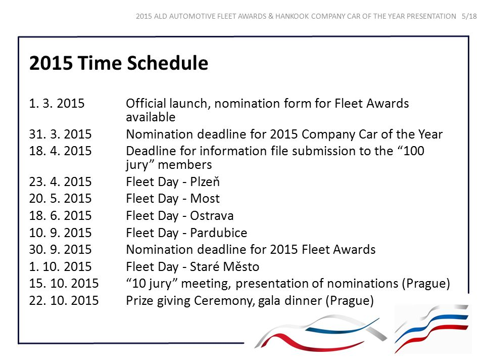 2015 Time Schedule 1. 3. 2015 Official launch, nomination form for Fleet Awards available.