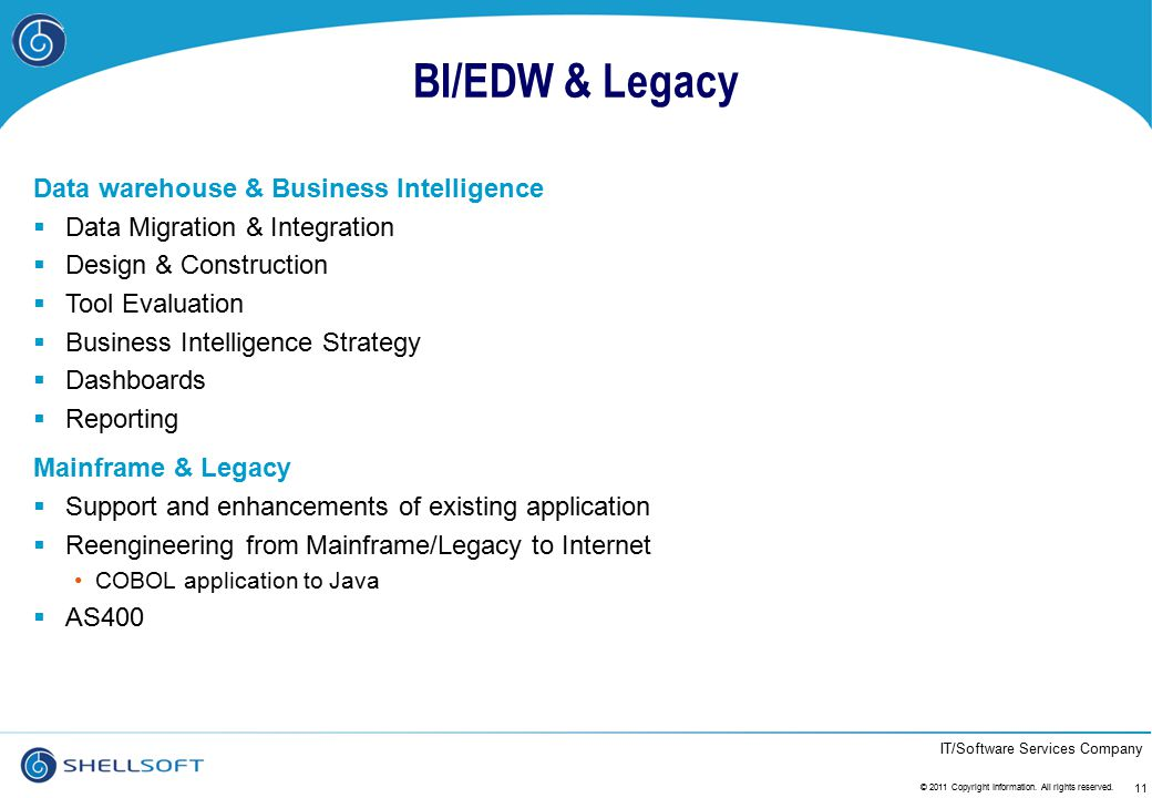 BI/EDW & Legacy Data warehouse & Business Intelligence