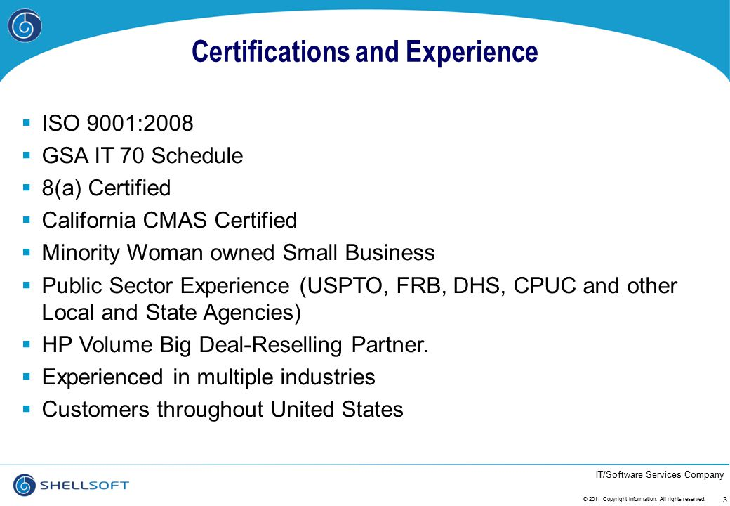 Certifications and Experience