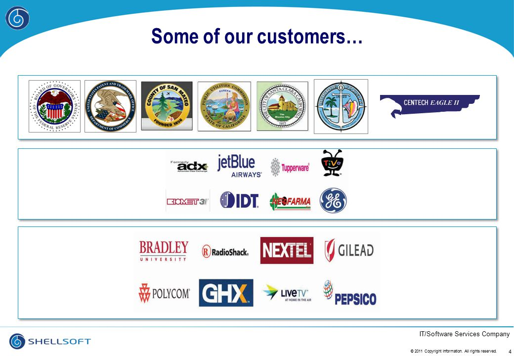 Some of our customers… © 2011 Copyright Information. All rights reserved.