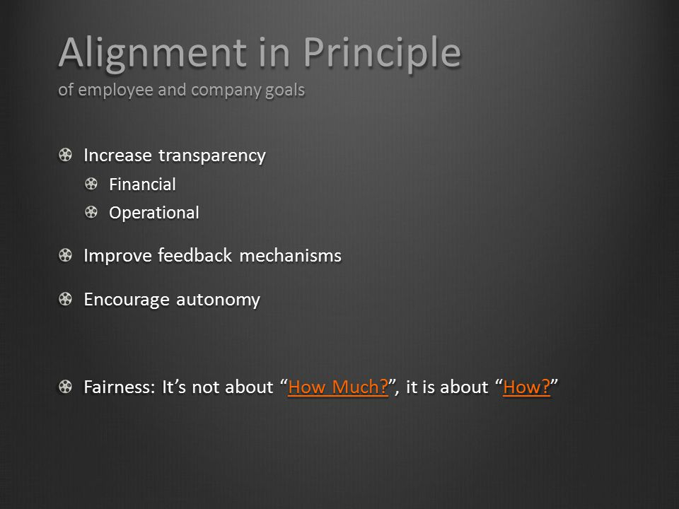 Alignment in Principle of employee and company goals