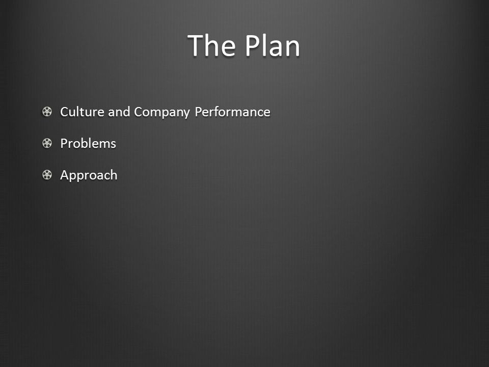 The Plan Culture and Company Performance Problems Approach