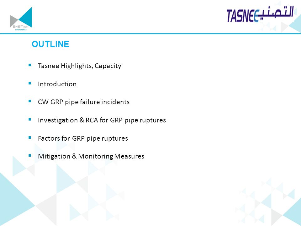 OUTLINE Tasnee Highlights, Capacity Introduction