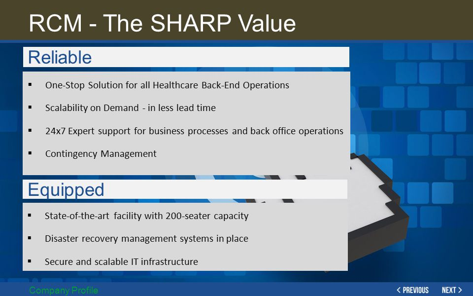 RCM - The SHARP Value Reliable Equipped