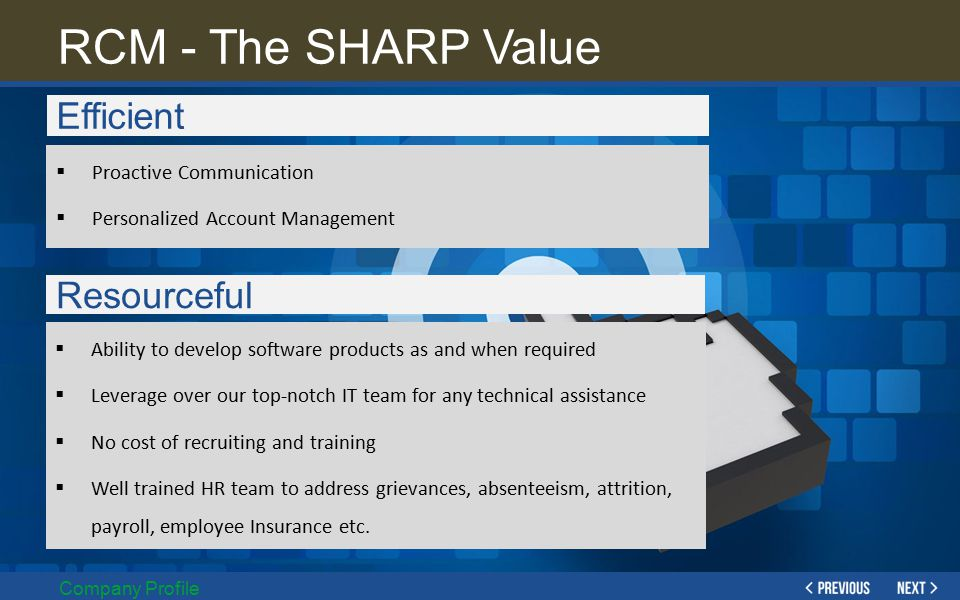 RCM - The SHARP Value Efficient Resourceful Proactive Communication