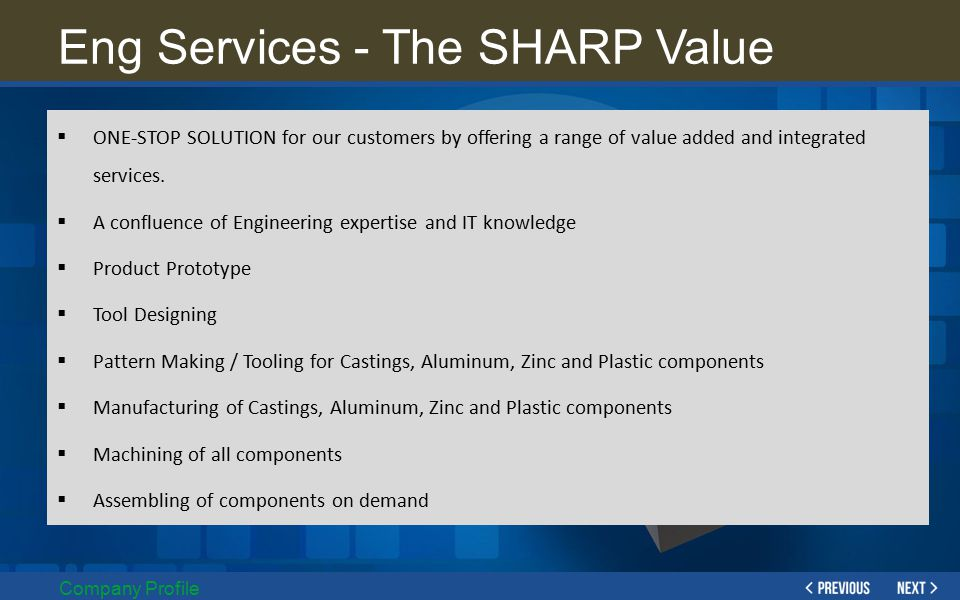 Eng Services - The SHARP Value