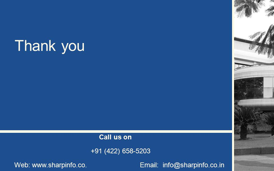Thank you Call us on +91 (422) 658-5203
