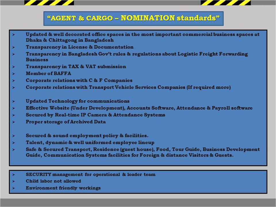 AGENT & CARGO – NOMINATION standards