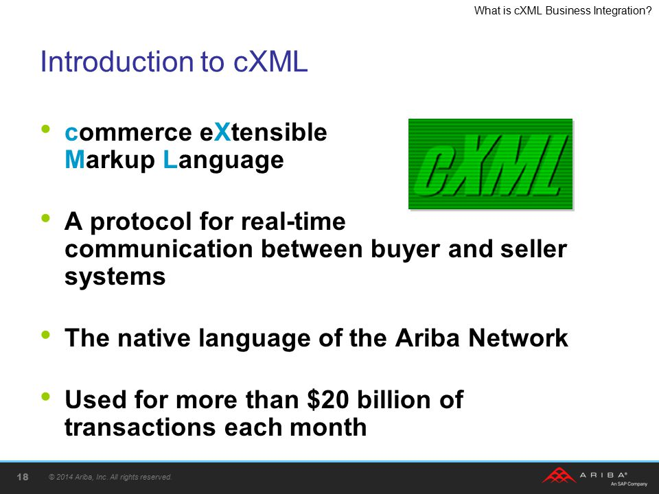 Introduction to cXML commerce eXtensible Markup Language
