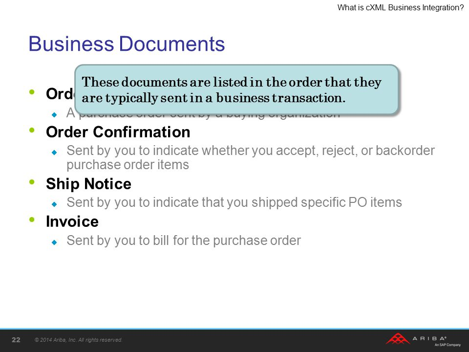 Business Documents Order Request Order Confirmation Ship Notice