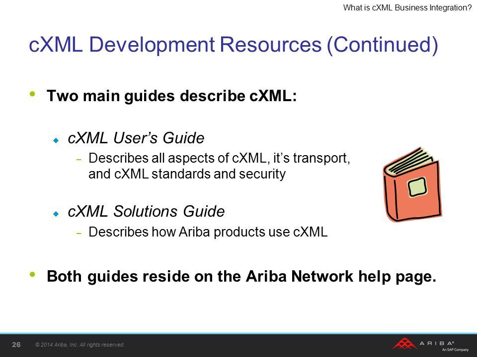 cXML Development Resources (Continued)