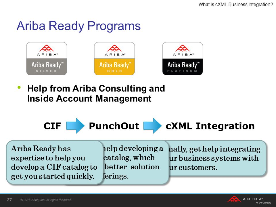 Ariba Ready Programs Help from Ariba Consulting and Inside Account Management. CIF. PunchOut. cXML Integration.