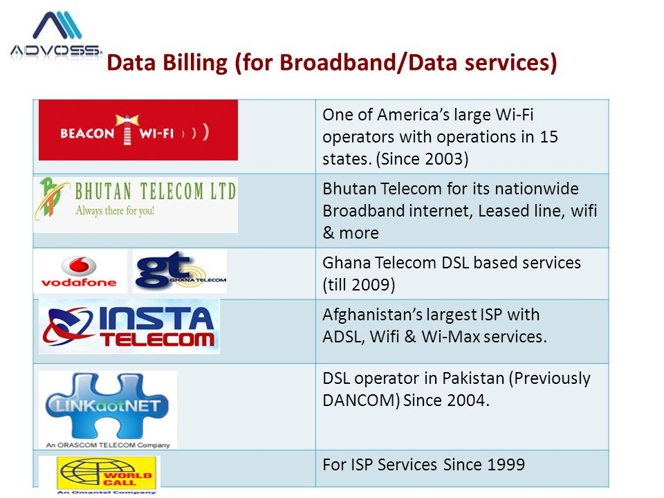 Data Billing (for Broadband/Data services)