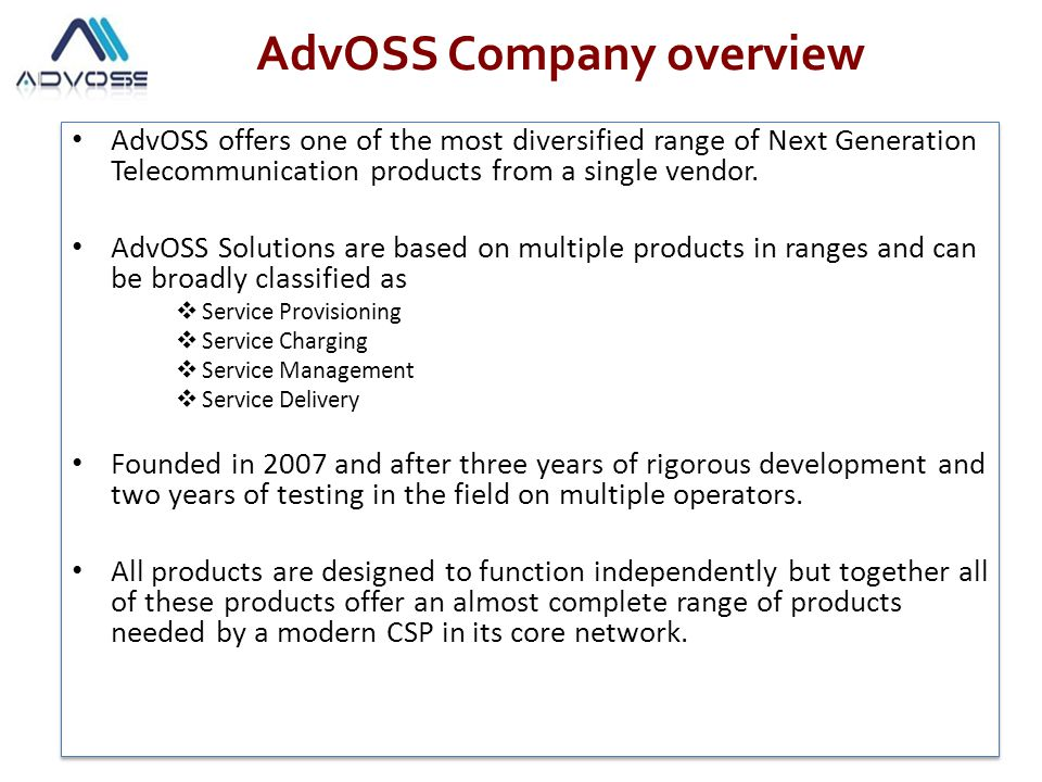 AdvOSS Company overview