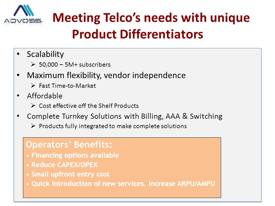 Meeting Telco's needs with unique Product Differentiators