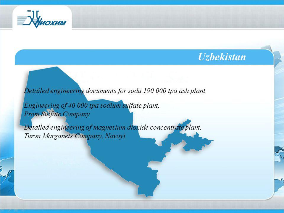 Uzbekistan Detailed engineering documents for soda 190 000 tpa ash plant. Engineering of 40 000 tpa sodium sulfate plant,