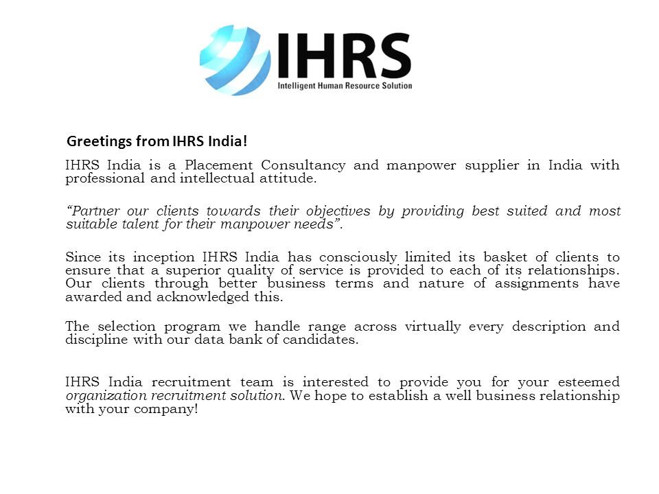 Greetings from IHRS India!