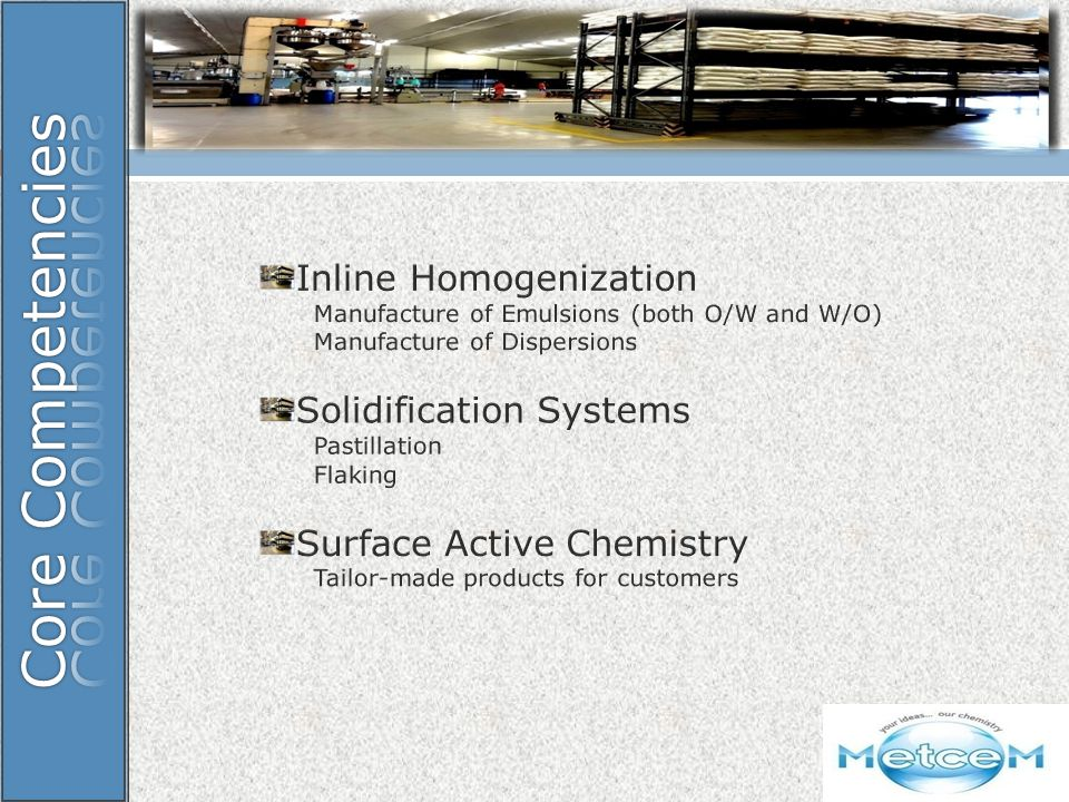 Core Competencies Inline Homogenization Solidification Systems