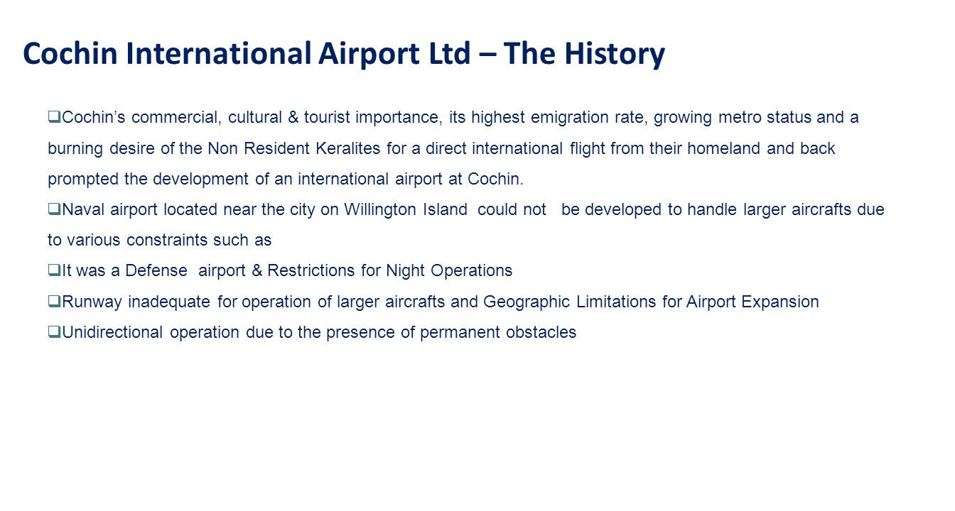 Cochin International Airport Ltd – The History