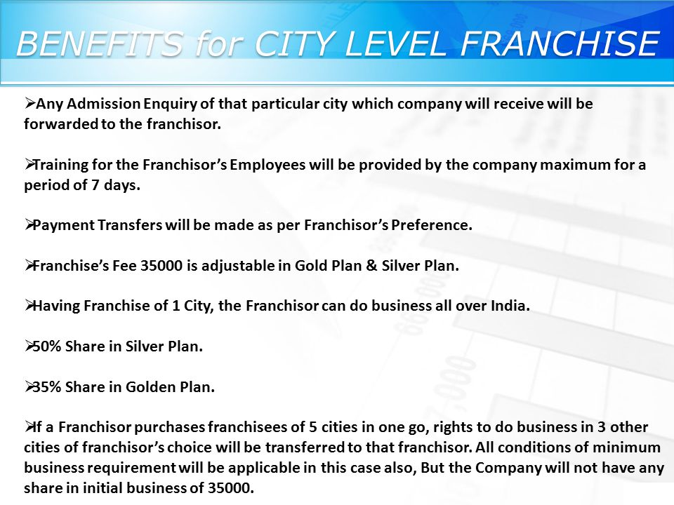 BENEFITS for CITY LEVEL FRANCHISE