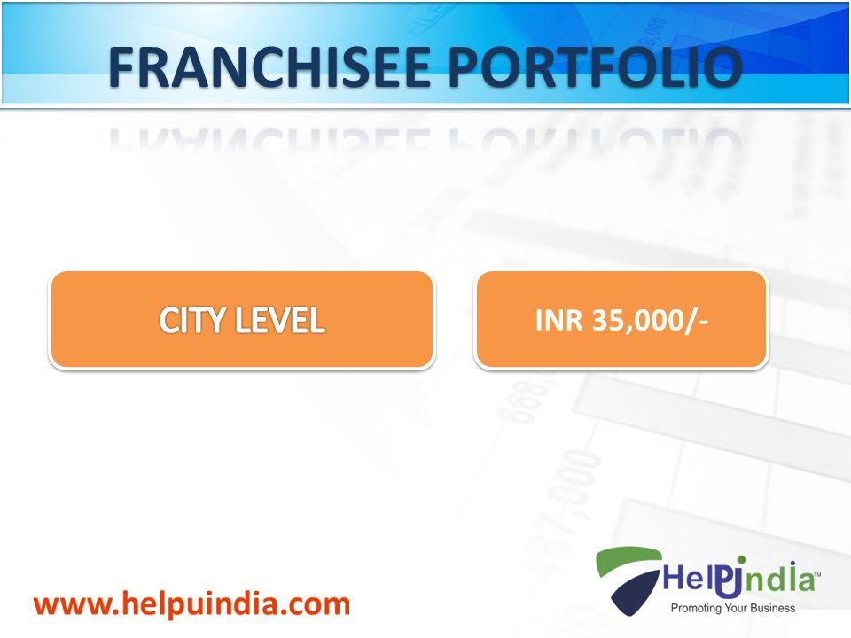 FRANCHISEE PORTFOLIO CITY LEVEL INR 35,000/-