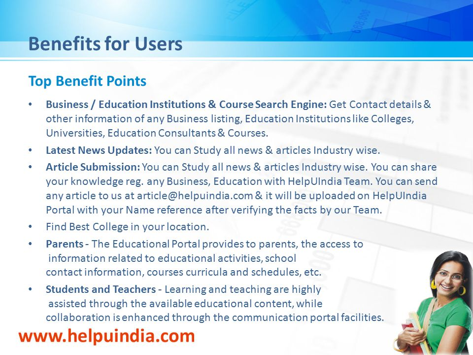 Benefits for Users Top Benefit Points