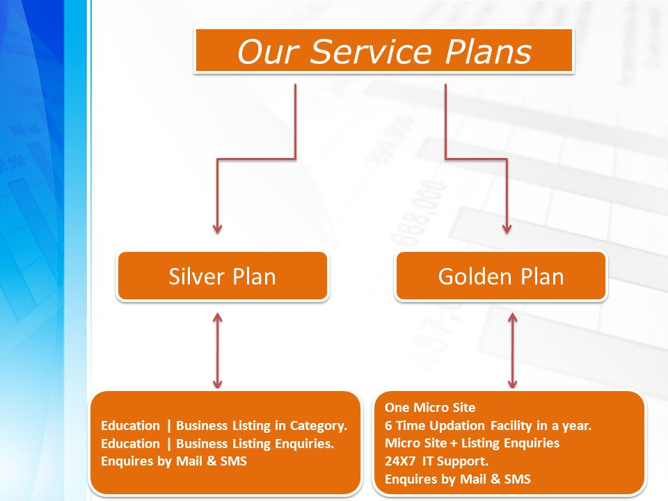Our Service Plans Silver Plan Golden Plan