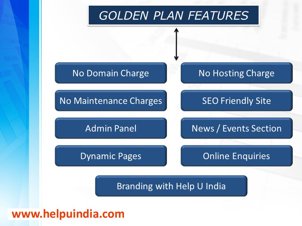 GOLDEN PLAN FEATURES No Domain Charge No Hosting Charge