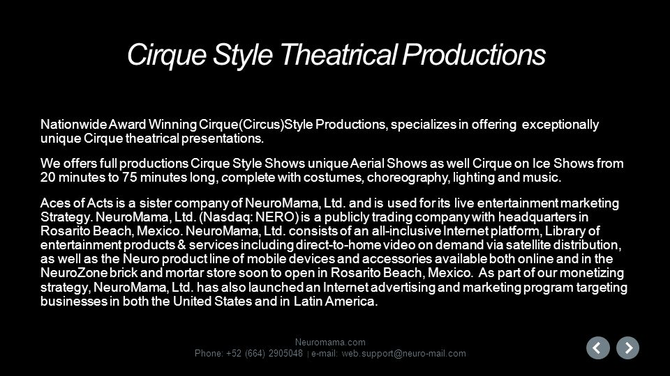 Cirque Style Theatrical Productions
