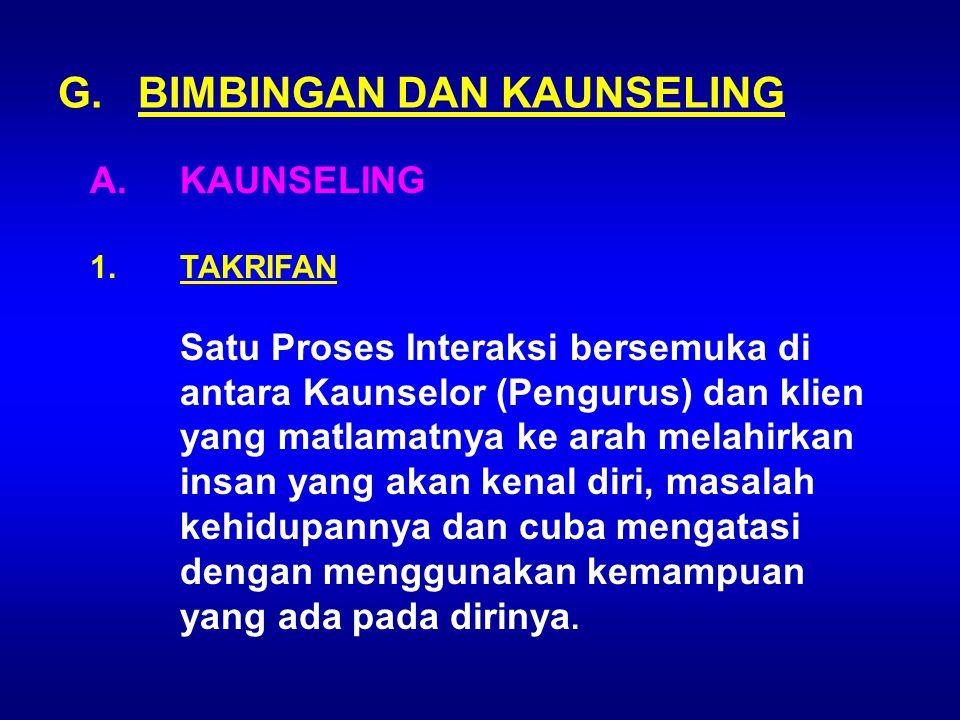 G. BIMBINGAN DAN KAUNSELING
