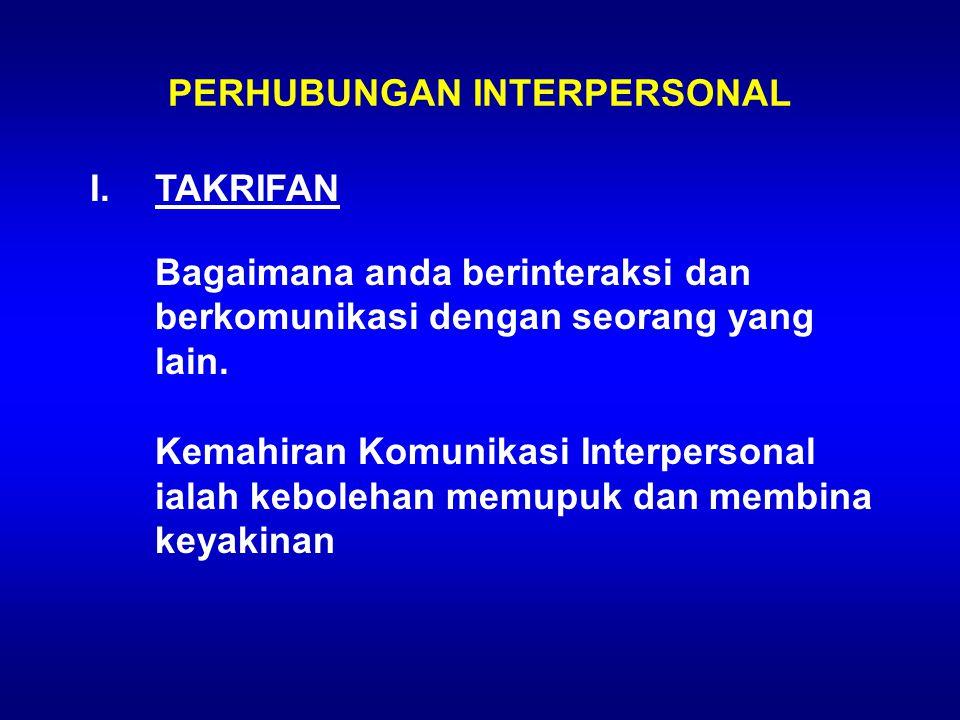 PERHUBUNGAN INTERPERSONAL