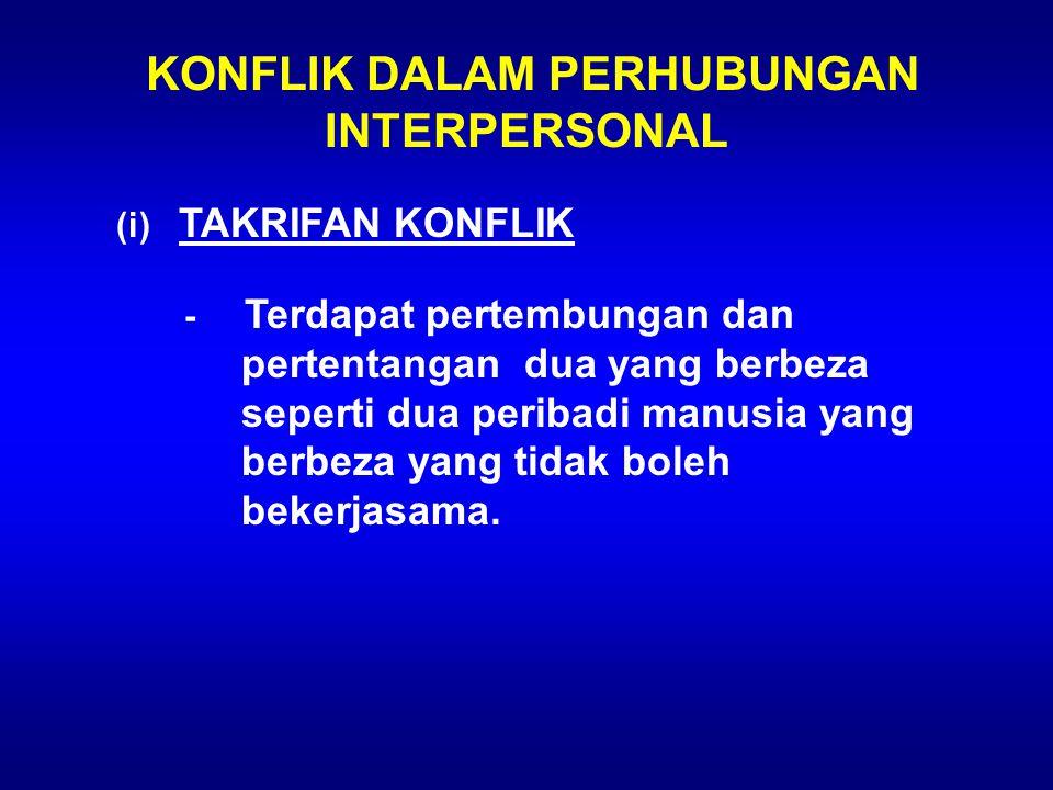 KONFLIK DALAM PERHUBUNGAN INTERPERSONAL