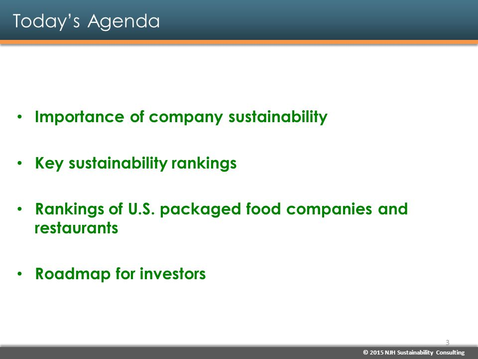 Today's Agenda Importance of company sustainability