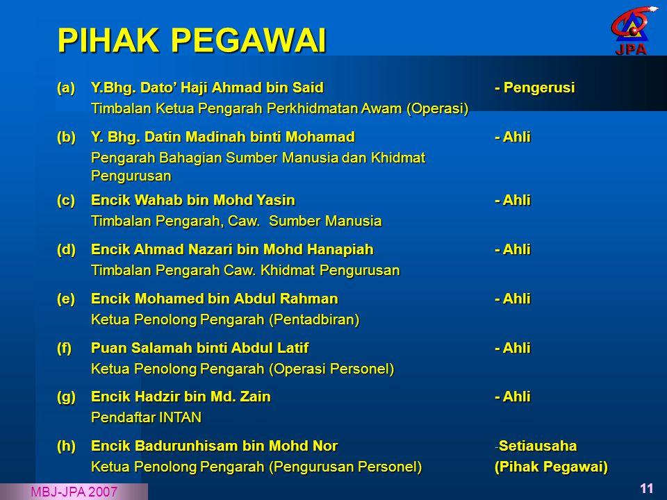 PIHAK PEGAWAI (a) Y.Bhg. Dato' Haji Ahmad bin Said