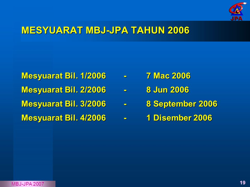 MESYUARAT MBJ-JPA TAHUN 2006