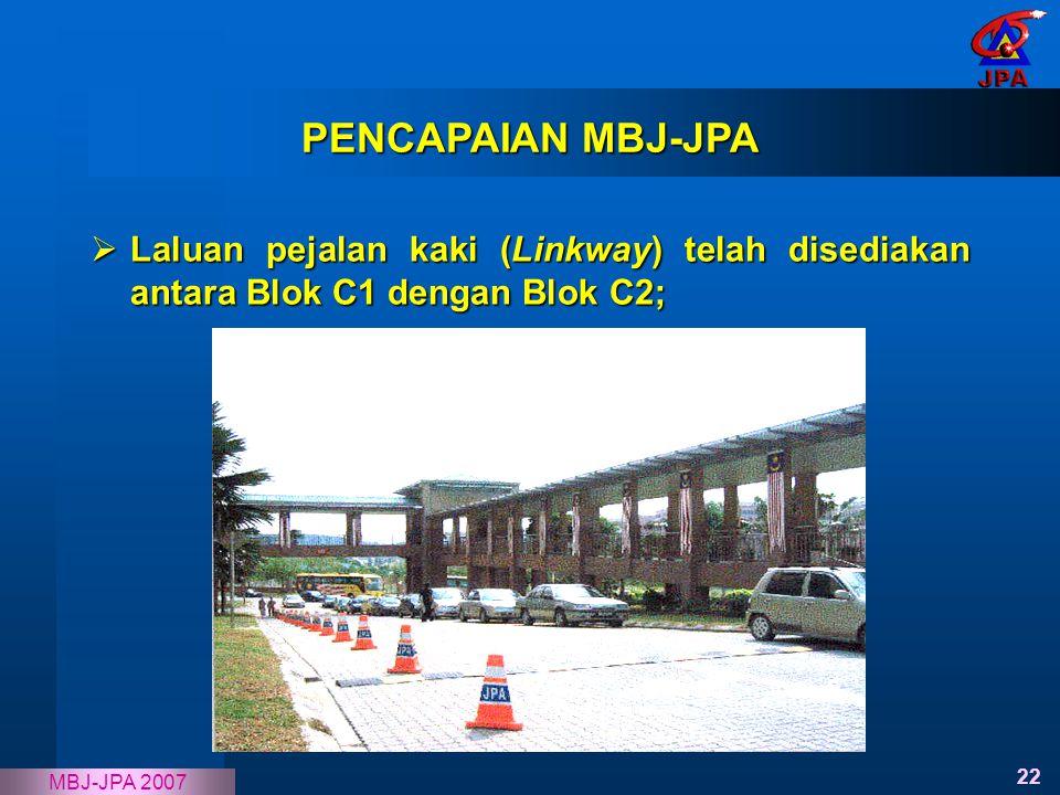 PENCAPAIAN MBJ-JPA Laluan pejalan kaki (Linkway) telah disediakan antara Blok C1 dengan Blok C2;
