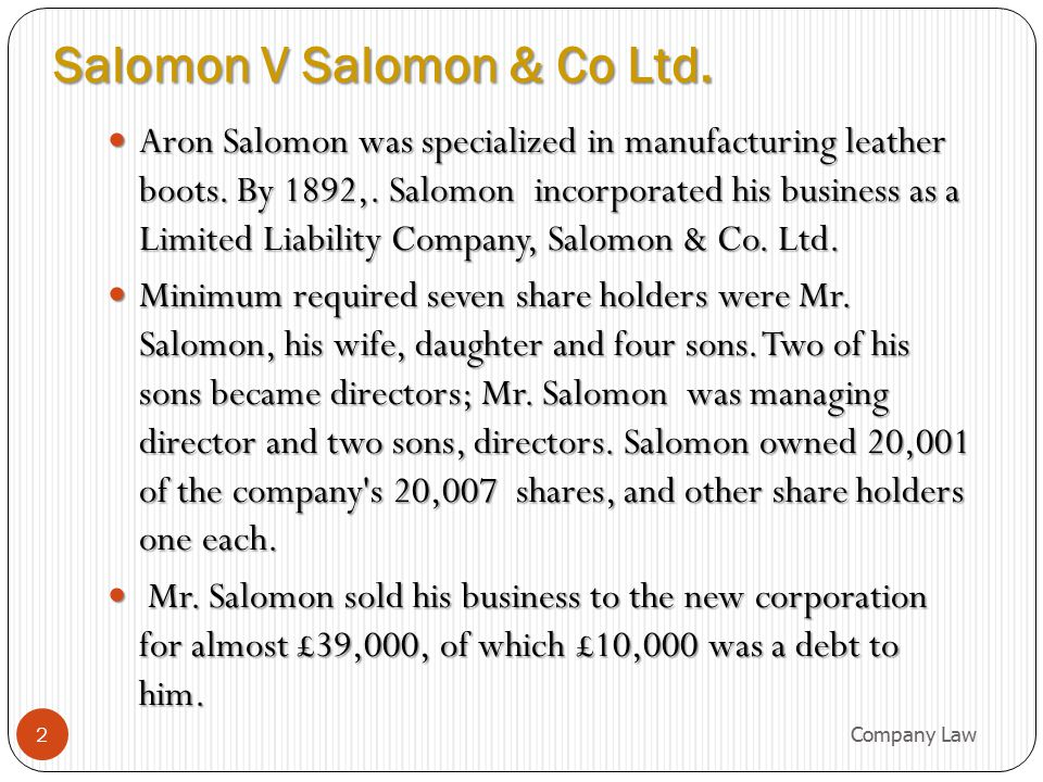 Salomon V Salomon & Co Ltd.