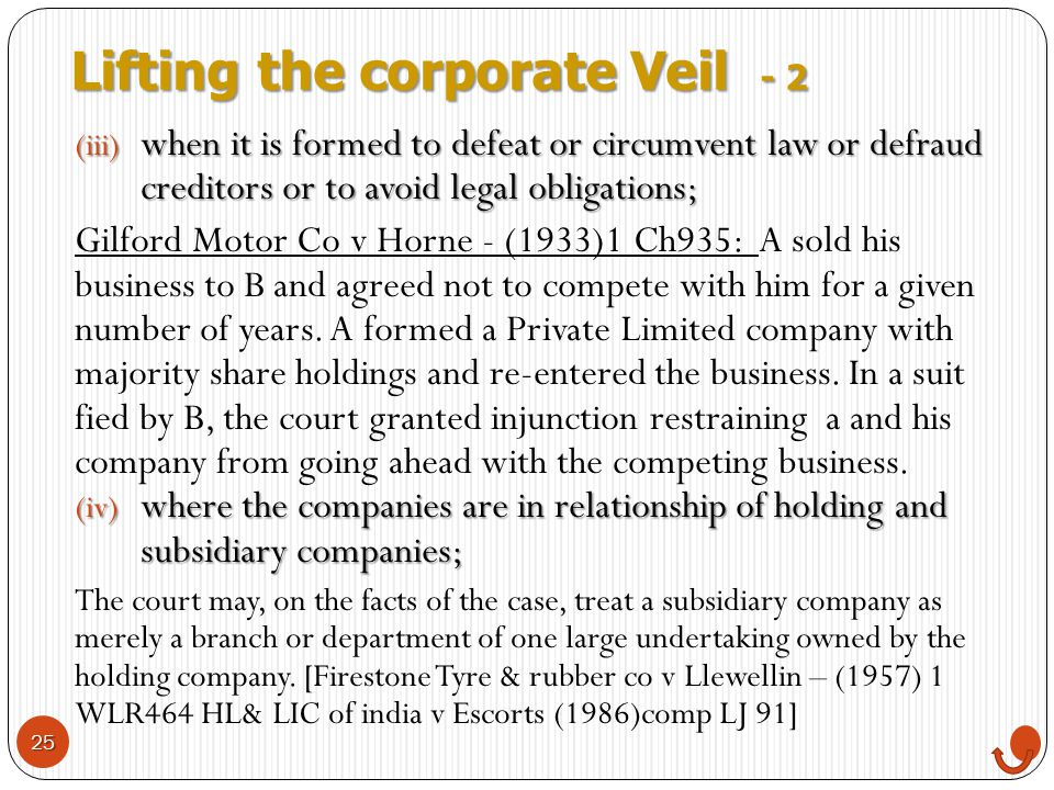 Lifting the corporate Veil - 2