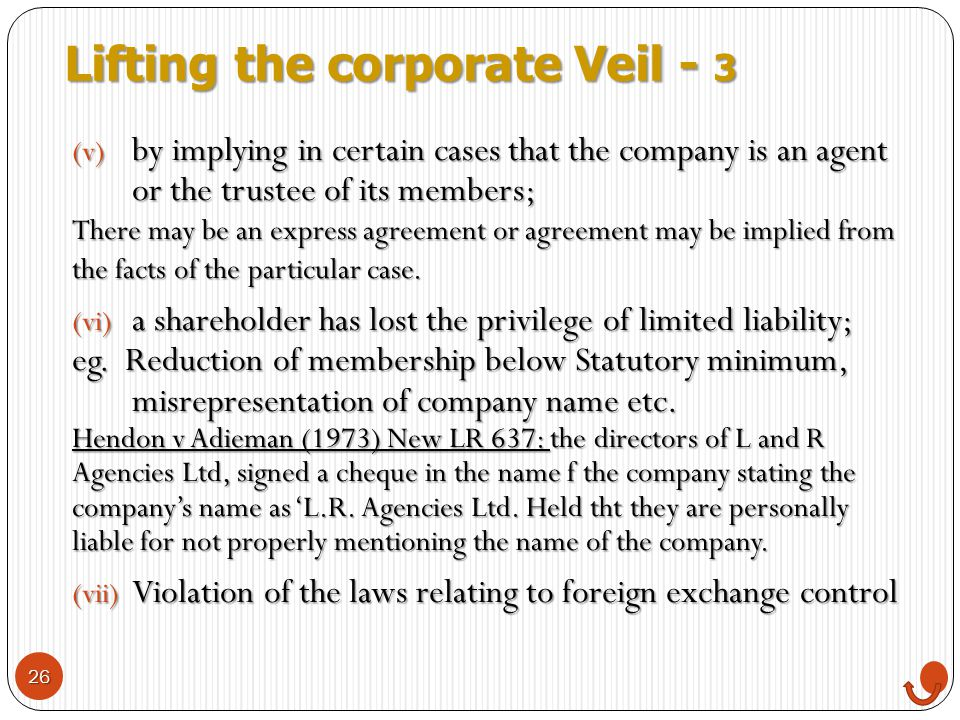 Lifting the corporate Veil - 3