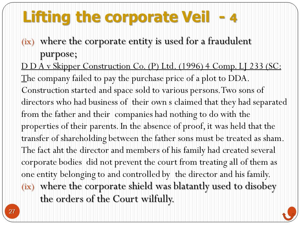 Lifting the corporate Veil - 4