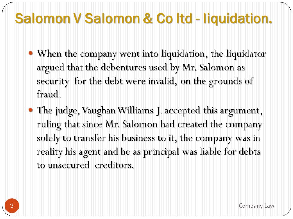 Salomon V Salomon & Co ltd - liquidation.