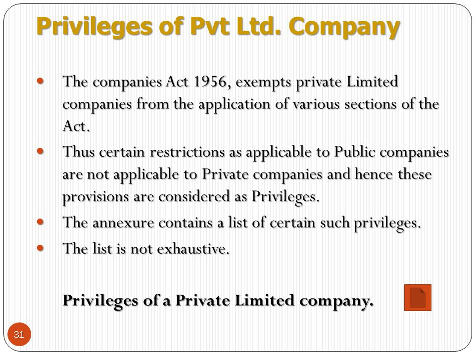 Privileges of Pvt Ltd. Company